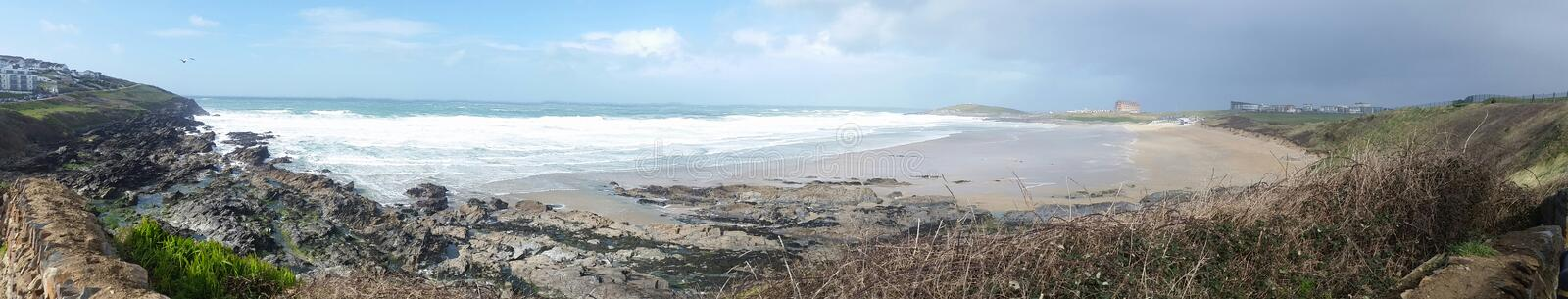 Fistral beach . Newquay. Cornwall. A Panoramic image of fistral beach on the north cornwall coast royalty free stock photo