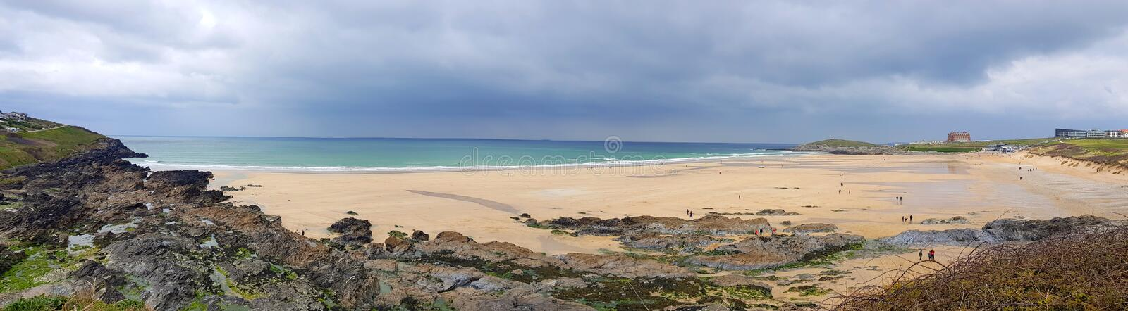 Fistral Beach, Newquay Cornwall, Uk. Fistral beach newquay cornwall,  Fistral Beach is in Fistral Bay on the north coast of Cornwall, England, United Kingdom. It stock image