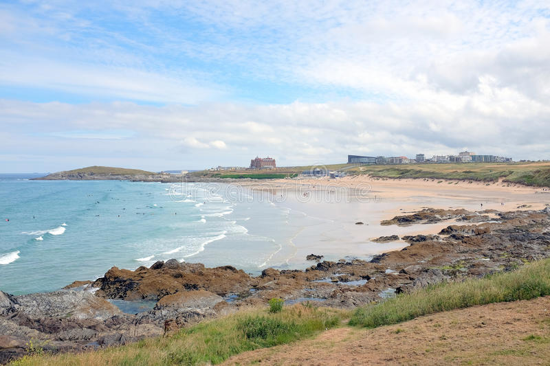 Fistral beach, Newquay, Cornwall. Newquay, Cornwall, UK. June 26, 2017. Surfers and holidaymakers on Fistral beach taken from the Esplanade road on East Pentire stock photography