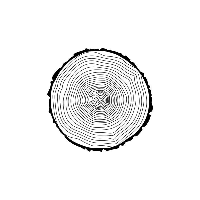 Fiszorek ikona lub logo, Czarna drzewnych pierścionków ikona ilustracji