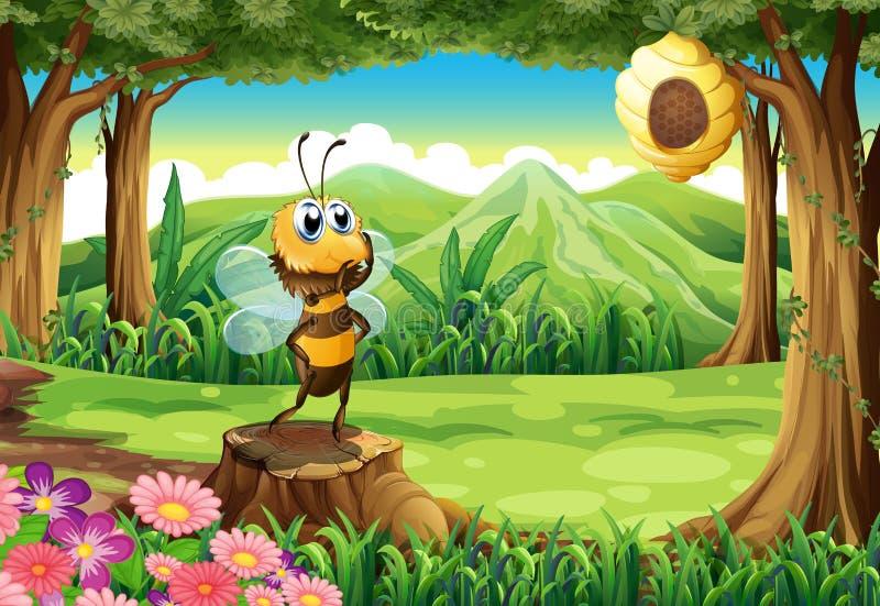 Fiszorek przy dżunglą z pszczołą royalty ilustracja