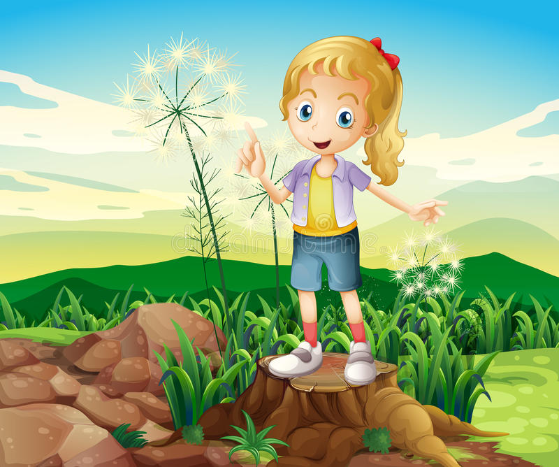 Fiszorek z młodej dziewczyny pozycją ilustracja wektor