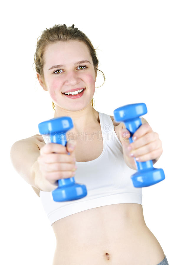 Fit Active Girl Exercising With Weights Royalty Free Stock Images