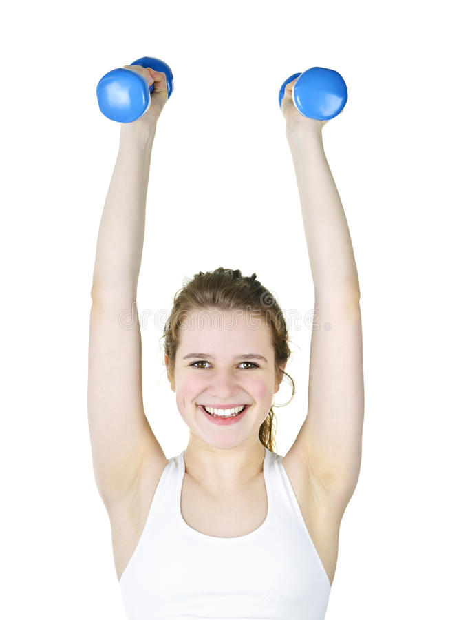 Download Fit Active Girl Lifting Weights For Fitness Stock Photo - Image: 19863948