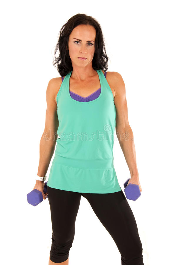 Fit Attractive Brunette Woman Holding Barbells Royalty Free Stock Image