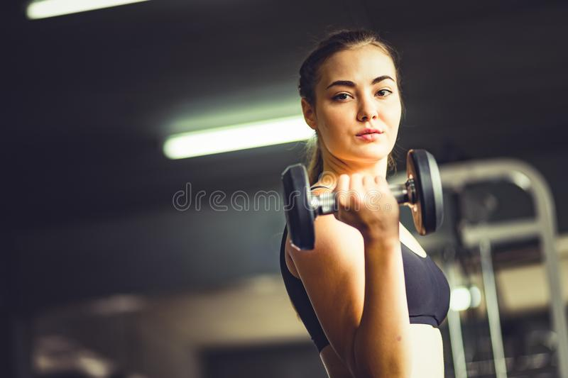 Fit beautiful young woman caucasian posing at the camera in sportswear. Young woman holding dumbbell royalty free stock image