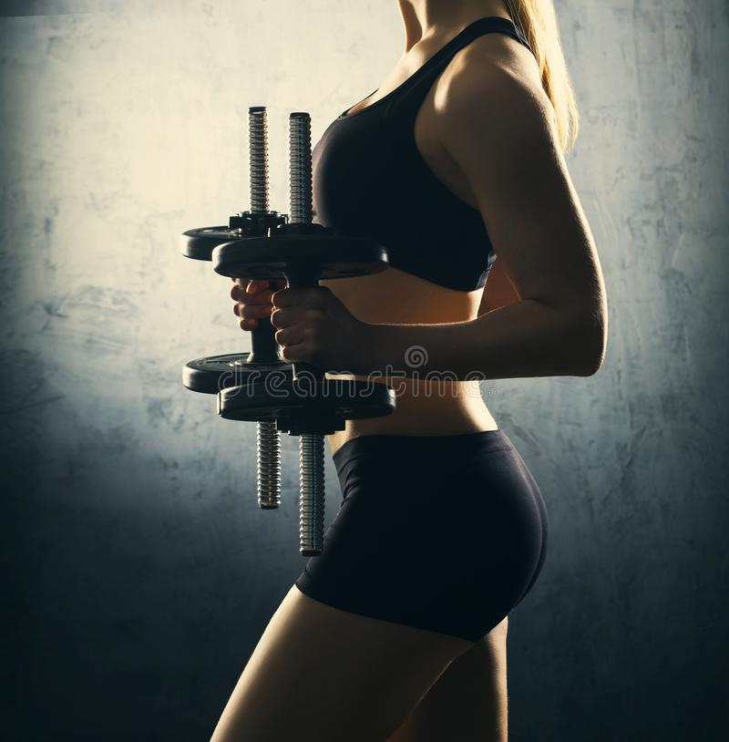 Download Fit Body Of Beautiful, Healthy And Sporty Woman With A Dumbbells. Stock Photo - Image of athletic, arms: 103381446