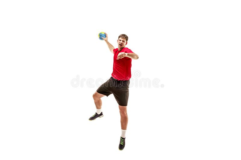 The one caucasian young man as handball player at studio on white background stock images