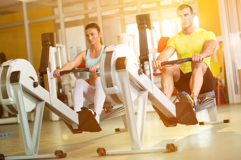 Fit couple on row machine in gym. Sport, fitness, lifestyle, and people concept stock images