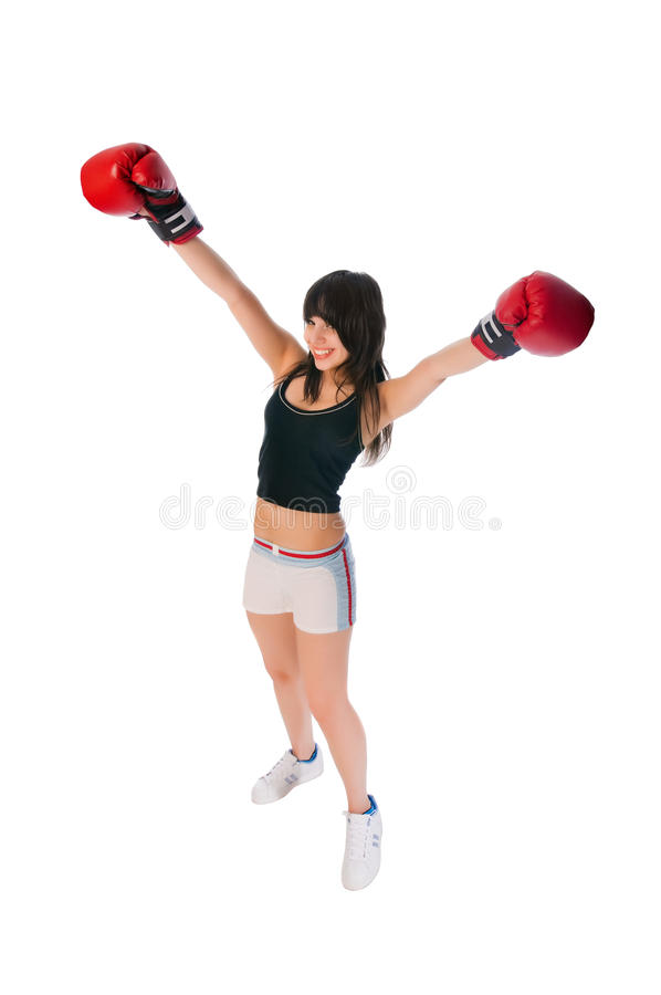Fit girl with boxing gloves royalty free stock photo
