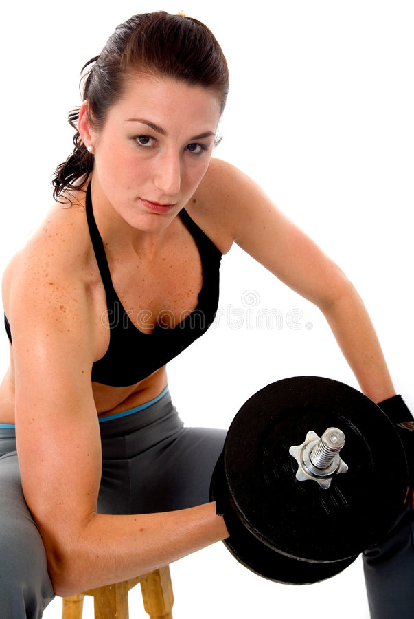 Download Fit girl lifting weights stock image. Image of side, hand - 2351989