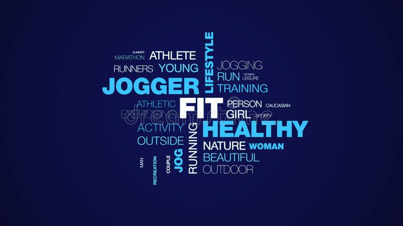 Fit healthy jogger lifestyle workout active health fitness sport jog exercise animated word cloud background in uhd 4k. 3840 2160 vector illustration