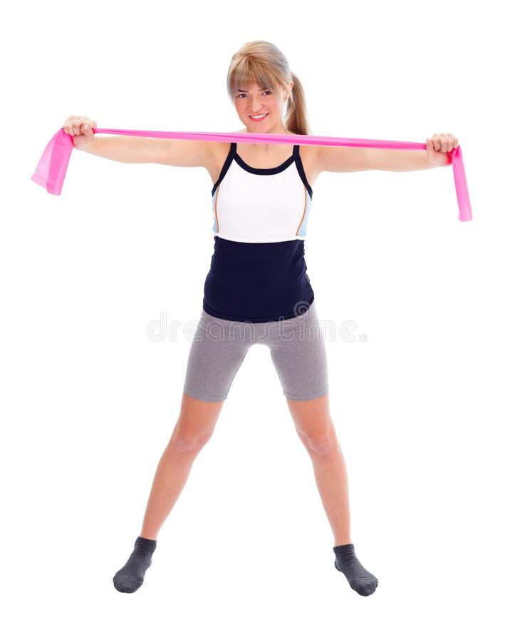Fit kvinna med elasticitetsbandet royaltyfria bilder