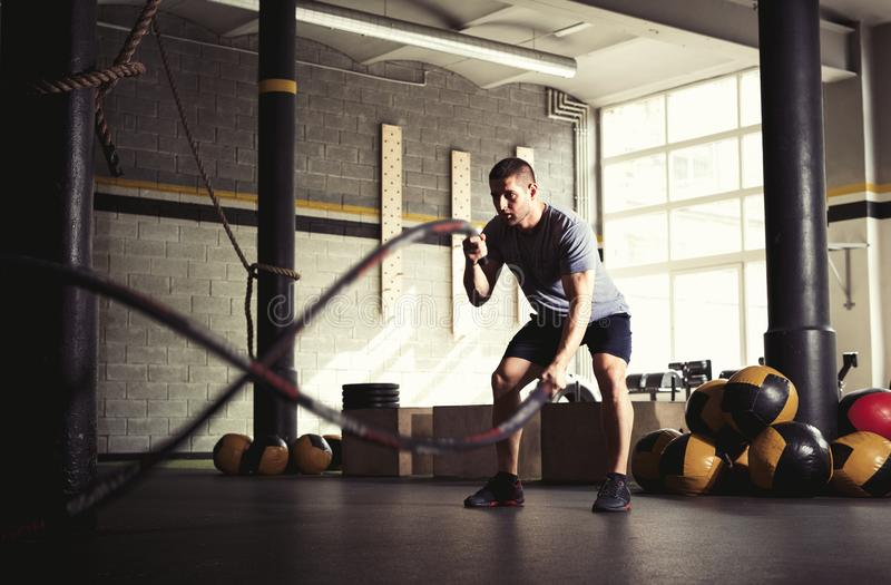 Man with battle ropes in gym. Fit man with battle ropes in gym stock photos