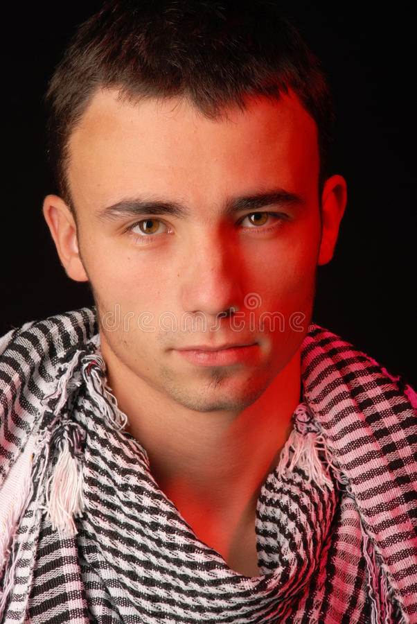 Fit man with keffiyeh stock photography