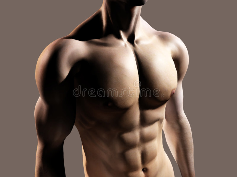 Fit man showing chest and abs stock illustration