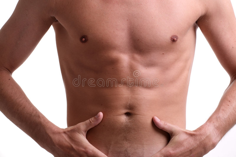Fit muscular male torso. Isolated on white stock images