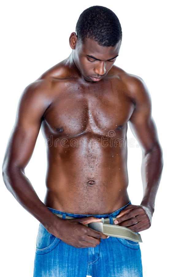 Fit shirtless young man stock photography