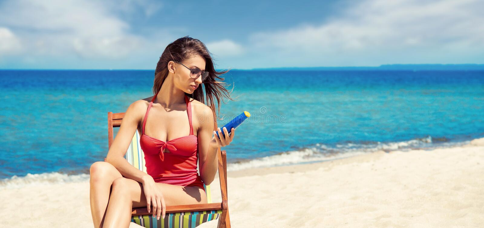 Fit and sporty young girl posing on a Thai beach. Travel, vacation, holiday, concept. stock image