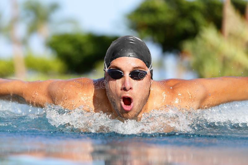 Fit swimmer sport athlete man swimming stock photo