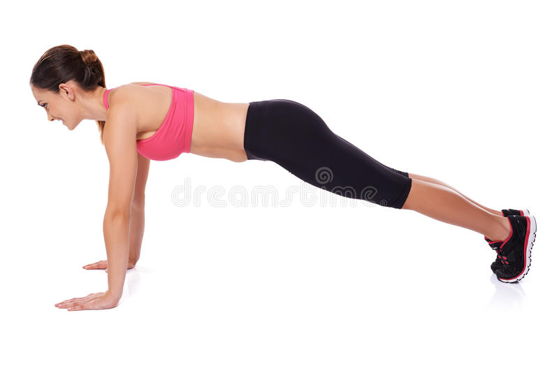 Download Fit woman doing press ups stock photo. Image of energy - 28550046