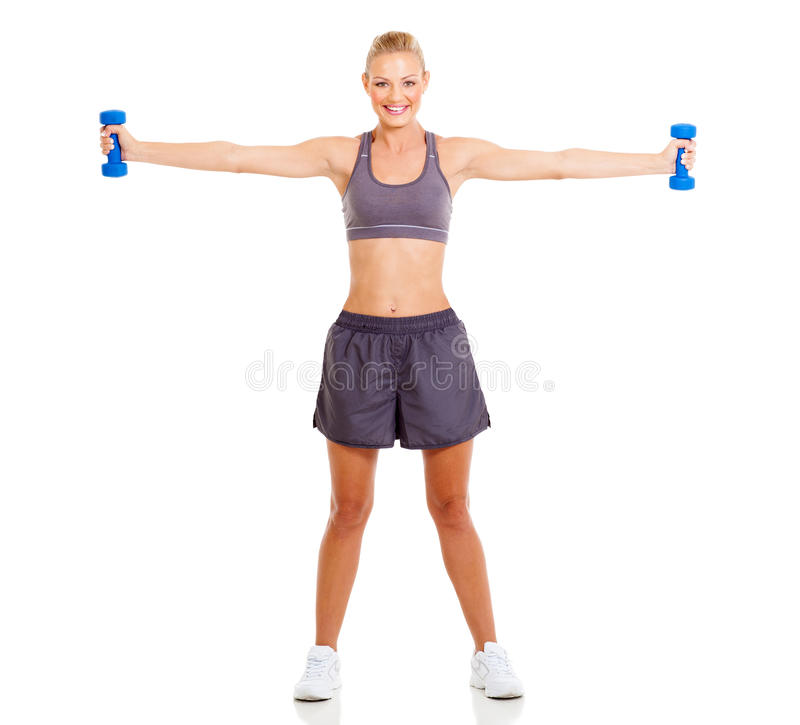 Download Fit woman dumbbells stock photo. Image of cheerful, body - 30854496