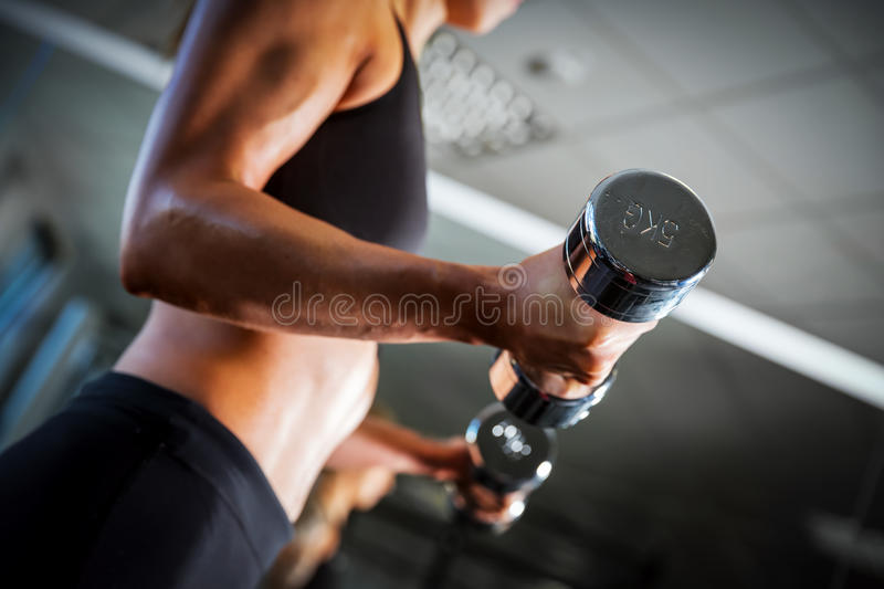 Fit woman exercising with dumbbells at the gym. royalty free stock image
