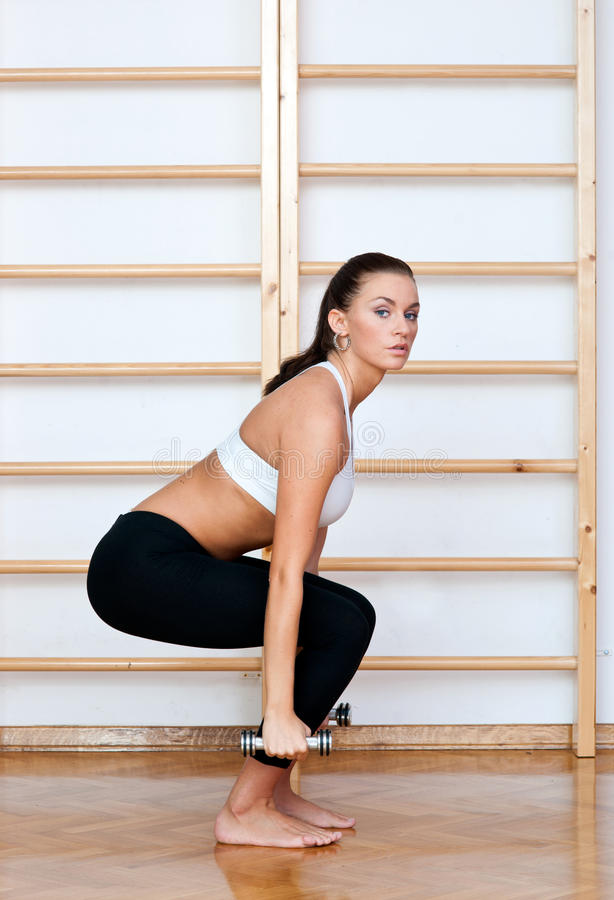 Fit woman in fitness pose. With weights in gym stock photography