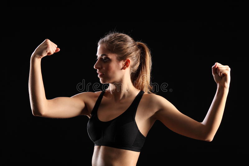 Download Fit Woman Flexing Muscles During Exercise Workout Stock Image - Image: 18036611