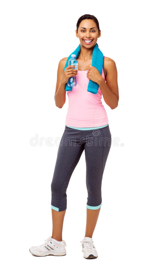 Fit Woman Holding Water Bottle And Towel stock image