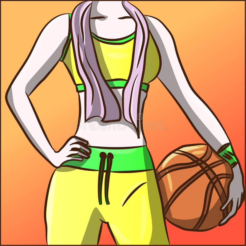 Fit woman in neon tracksuit with a basketball at the gym. Athletic sportswoman player doing aerobics, gymnastic. Diet energy nutri vector illustration