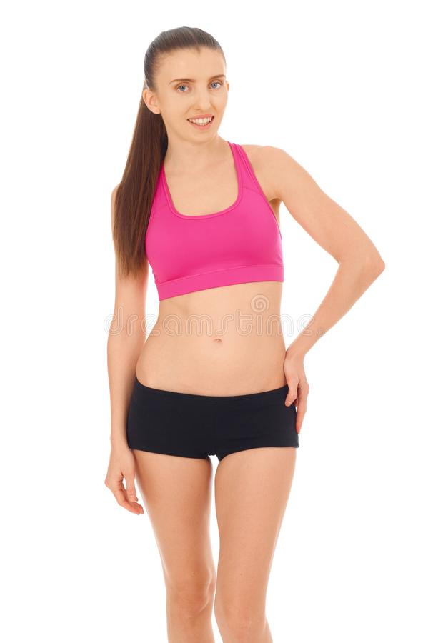 Fitness woman on white stock images