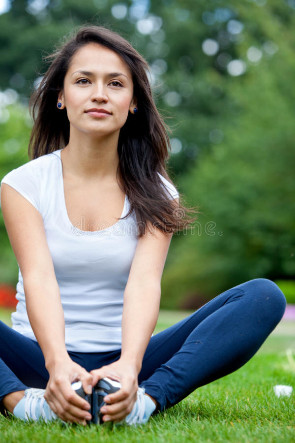 Download Fit woman stretching stock photo. Image of fitness, outside - 15727972
