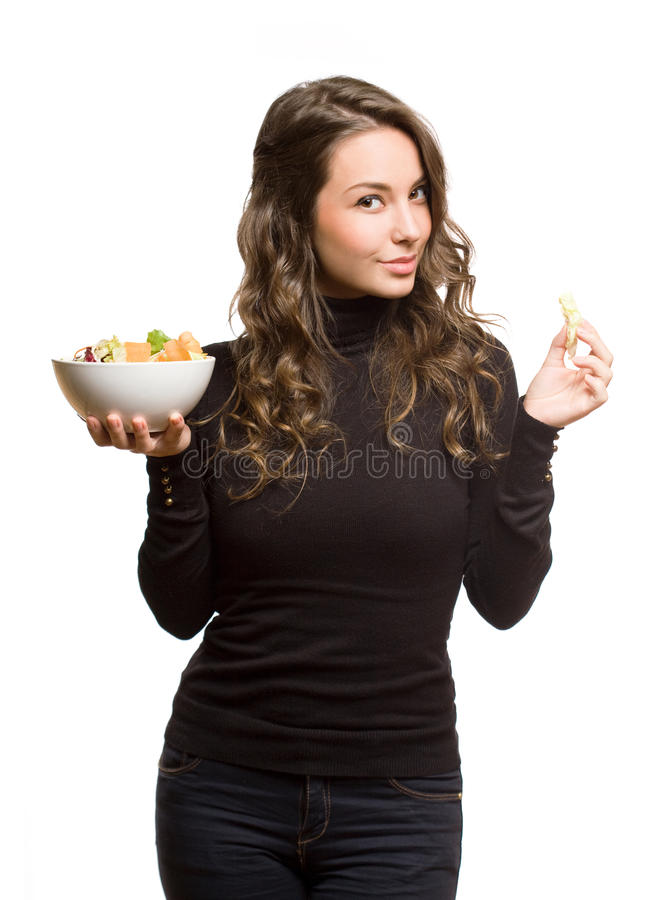 Download Fit Young Brunette With Salad. Stock Image - Image of bowl, camera: 29286563