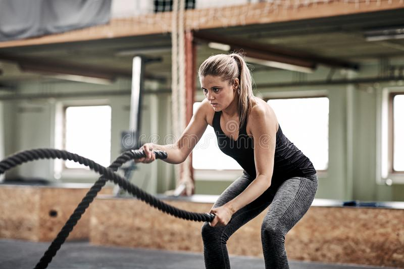 Fit young woman exercising with ropes at the gym. Fit young blonde women in sportswear working out alone with ropes during an exercise session at the gym stock photography