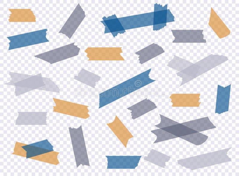 Fita adesiva e de aceite ou sim, cruz e partes diferentes da fita de esparadrapo do tamanho ilustração do vetor