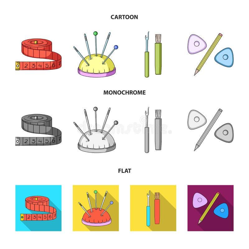 Fita, agulhas, pastéis e lápis de medição Costurando ou costurando ícones da coleção do grupo de ferramentas nos desenhos animado ilustração stock