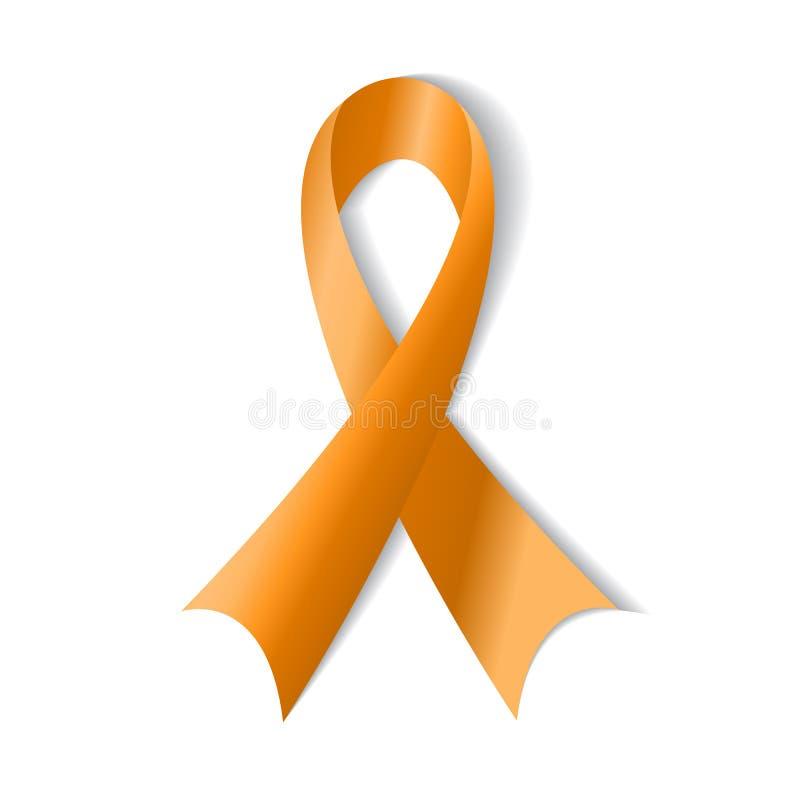 Fita alaranjada, símbolo do abuso animal, conscientização da leucemia ilustração do vetor