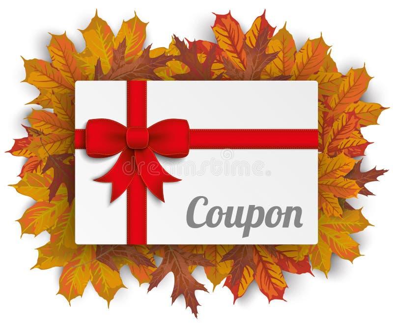 Fita Autumn Foliage Coupon do cartão de papel ilustração royalty free