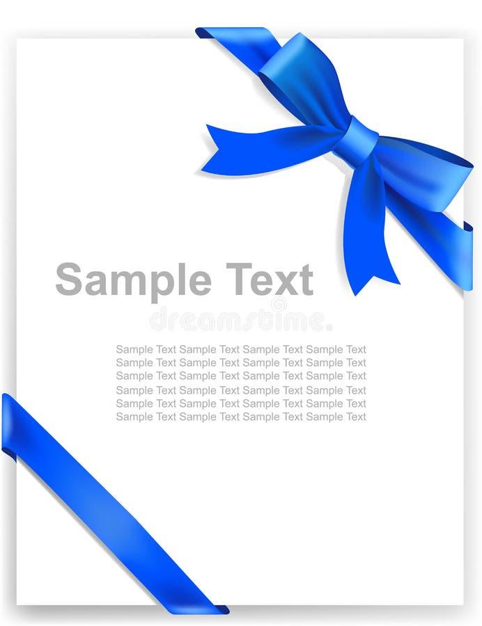 Fita azul brilhante do cetim no fundo branco ilustração royalty free
