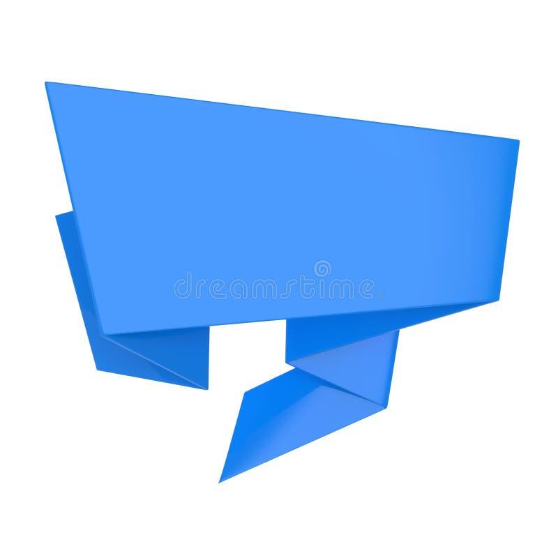Fita azul do estilo do origâmi 3d rendem a ilustração imagem de stock royalty free