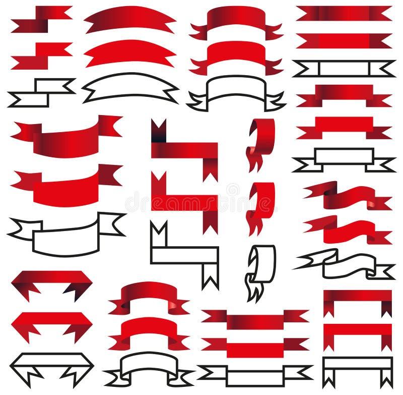 Fita bandeiras, ilustração do vetor do grupo de etiquetas ilustração stock