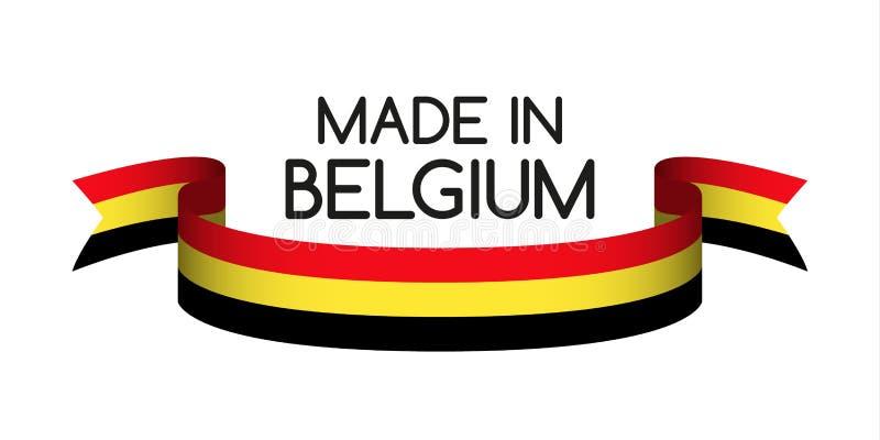 Fita colorida com o tricolor belga, feito em Bélgica ilustração stock