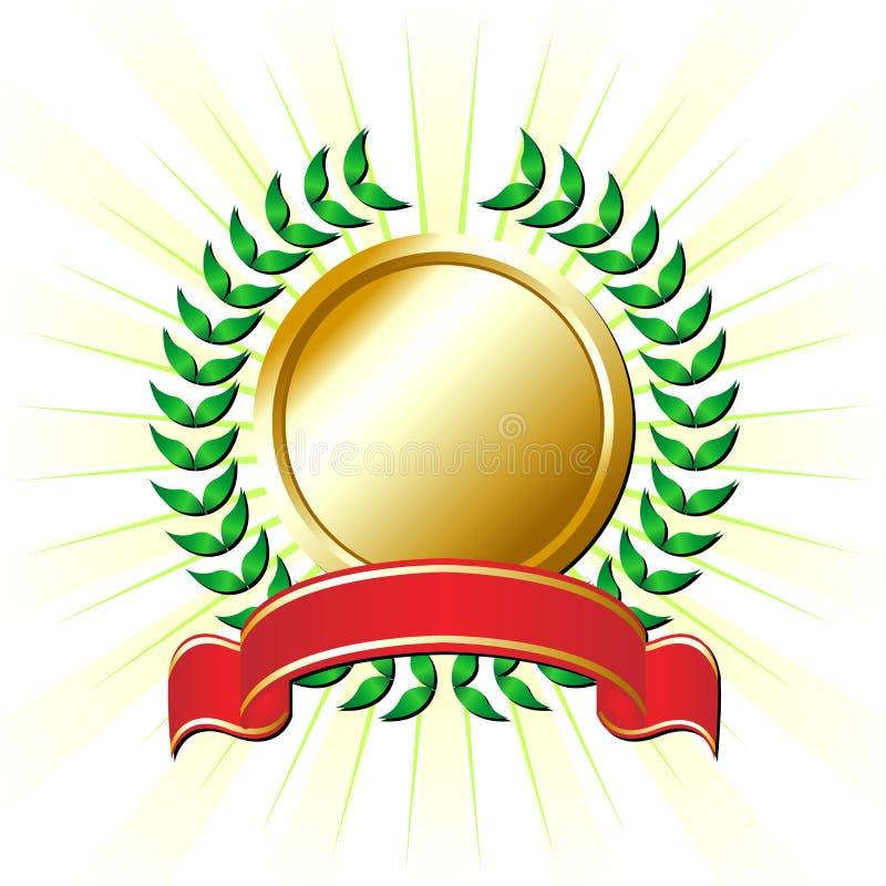 Fita com coroa do louro ilustração royalty free