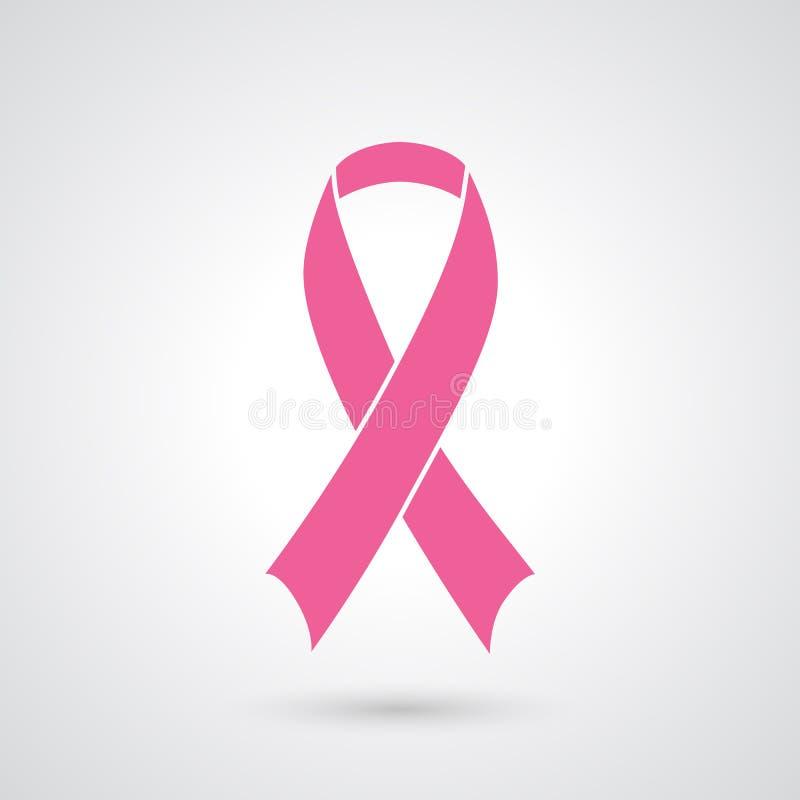 Fita cor-de-rosa da consciência do cancro da mama ilustração do vetor