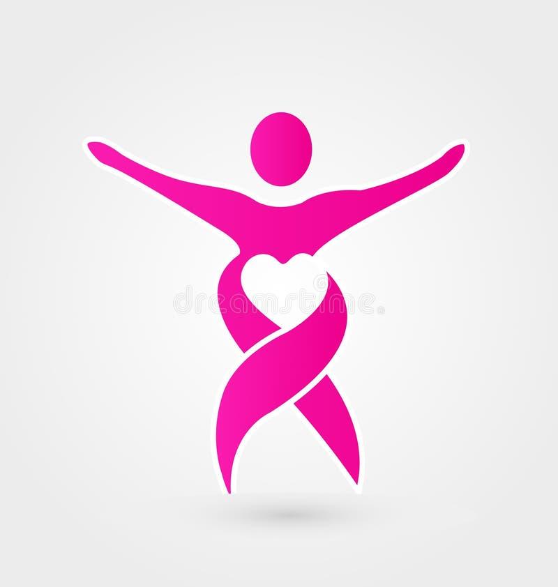 Fita cor-de-rosa da mulher, vetor do logotipo do coração ilustração royalty free
