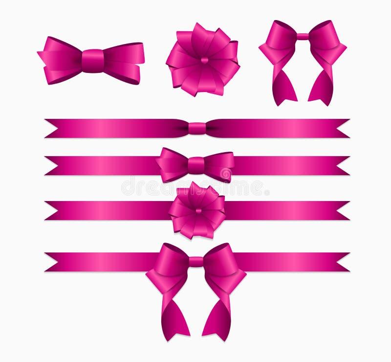 Fita cor-de-rosa e curva ajustadas para a caixa de presente do Natal do aniversário rea ilustração do vetor