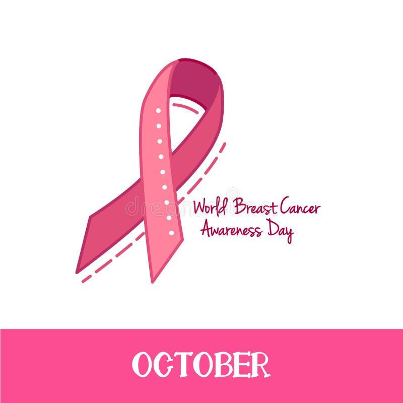 Fita cor-de-rosa, símbolo da conscientização do câncer da mama, ilustração do vetor ilustração royalty free