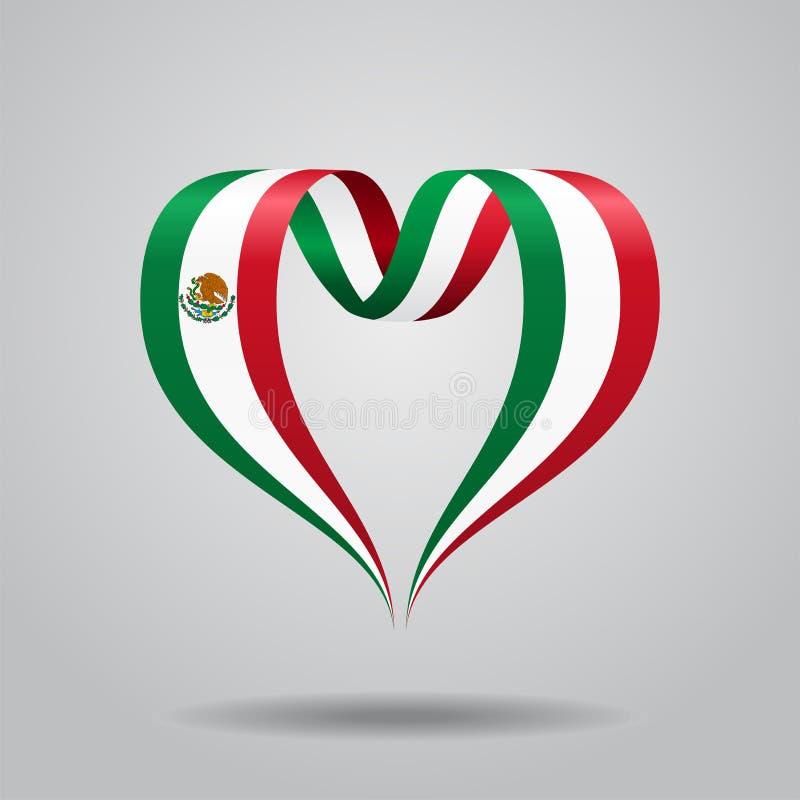 Fita coração-dada forma da bandeira mexicana Ilustração do vetor ilustração do vetor