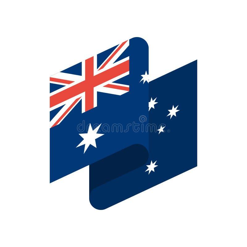 Fita da bandeira de Austrália isolada Bandeira australiana da fita naturalizado ilustração do vetor